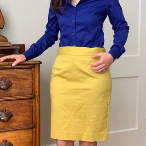 J. Crew Yellow Pencil Skirt, Size 2